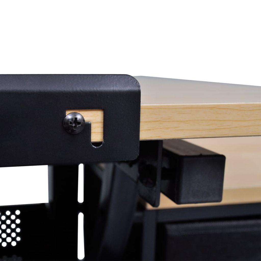 vidaXL Vinklingsbart ritbord med 3 lådor och 1 pall