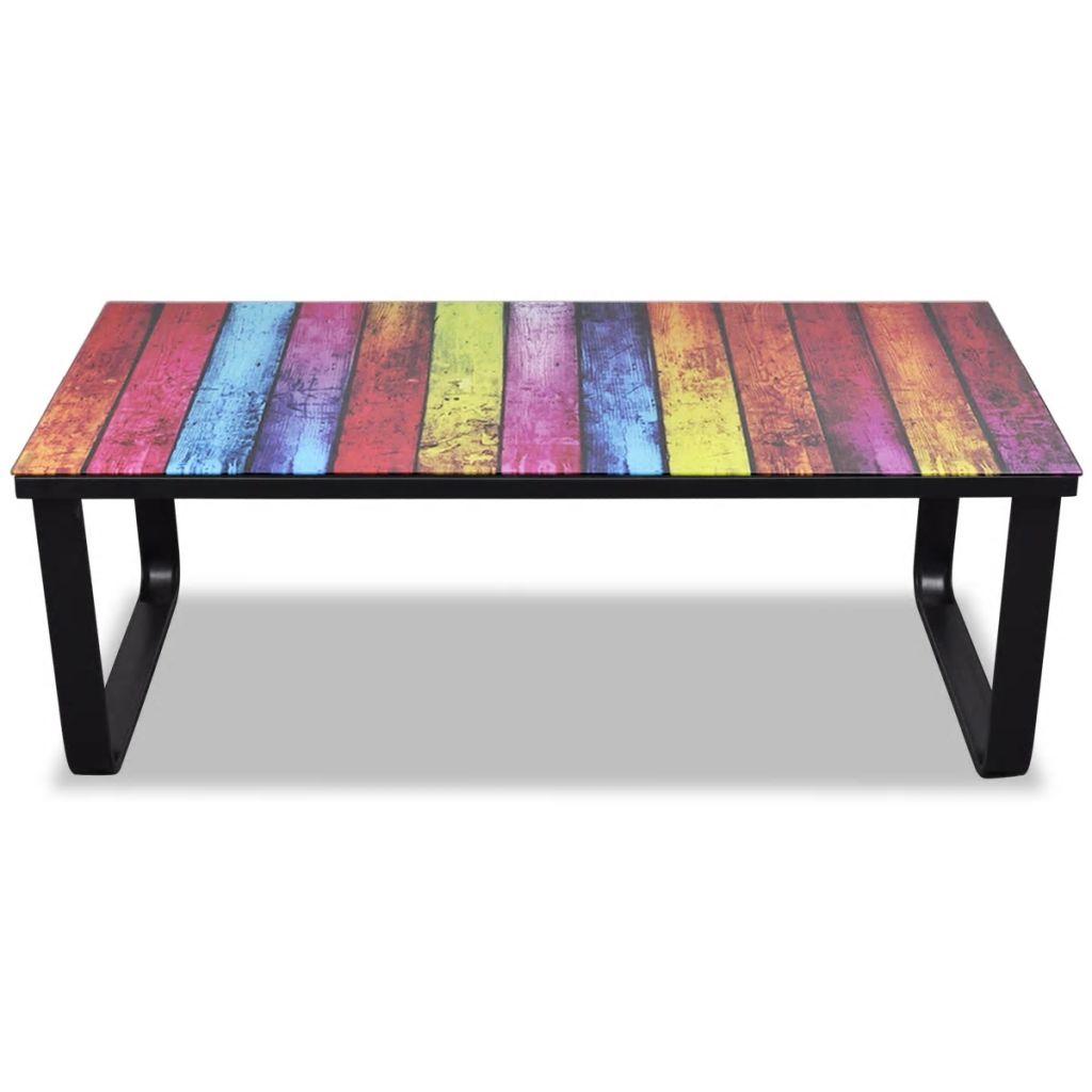 vidaXL Soffbord med regnbågstryck glasskiva