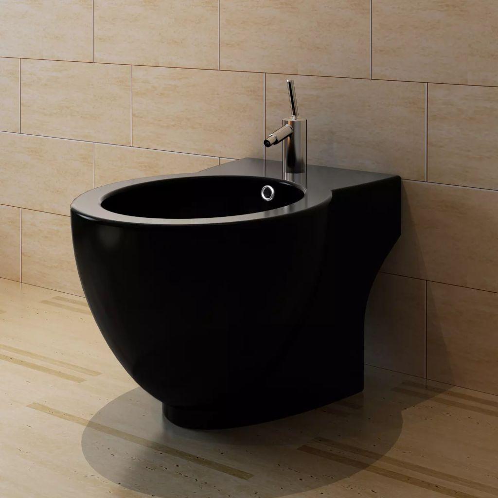 Keramisk toalett och bidé svart