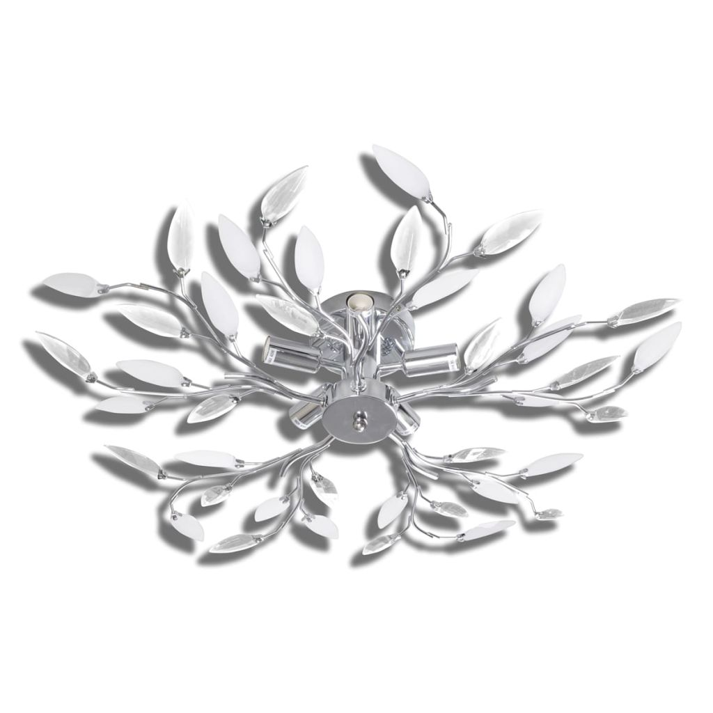 vidaXL Taklampa 5-armad E14 med kristallöv vit/transparent