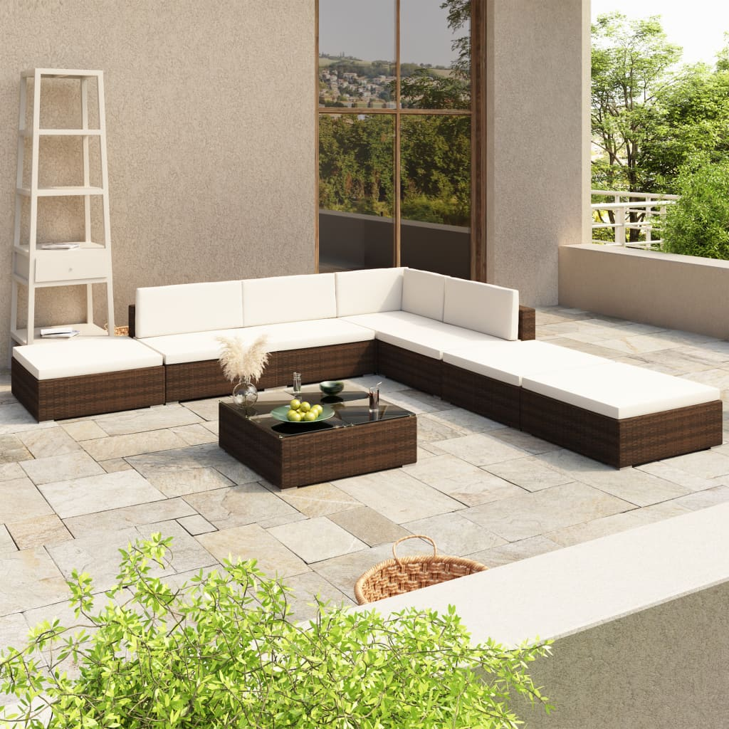 Loungegrupp för trädgården med dynor 8 delar konstrotting brun
