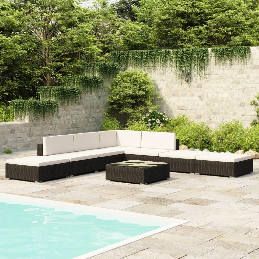 Loungegrupp för trädgården med dynor 8 delar konstrotting svart