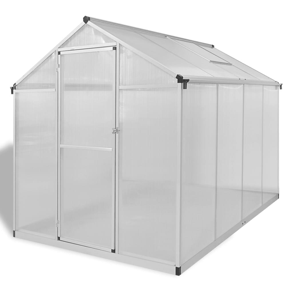 Växthus i förstärkt aluminium med basram 4,6 m²