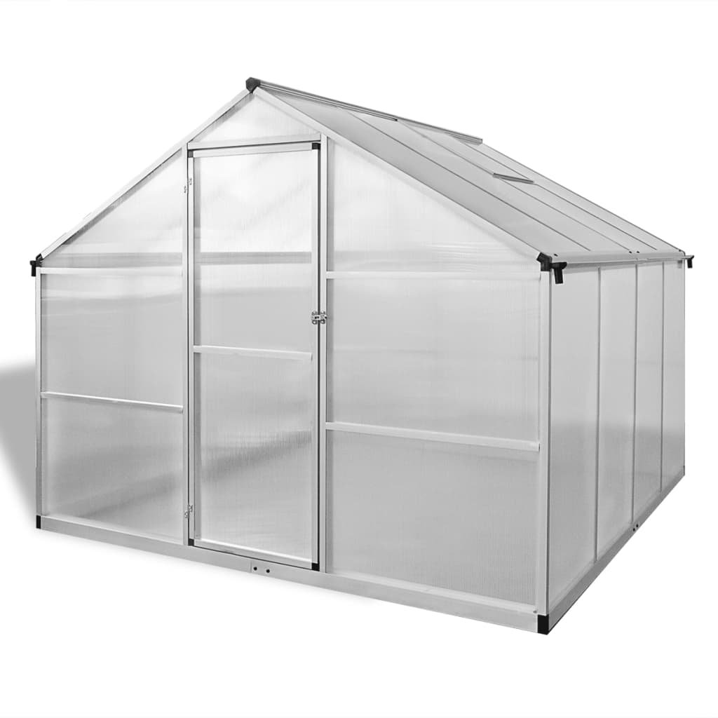 Växthus i förstärkt aluminium med basram 6,05 m²