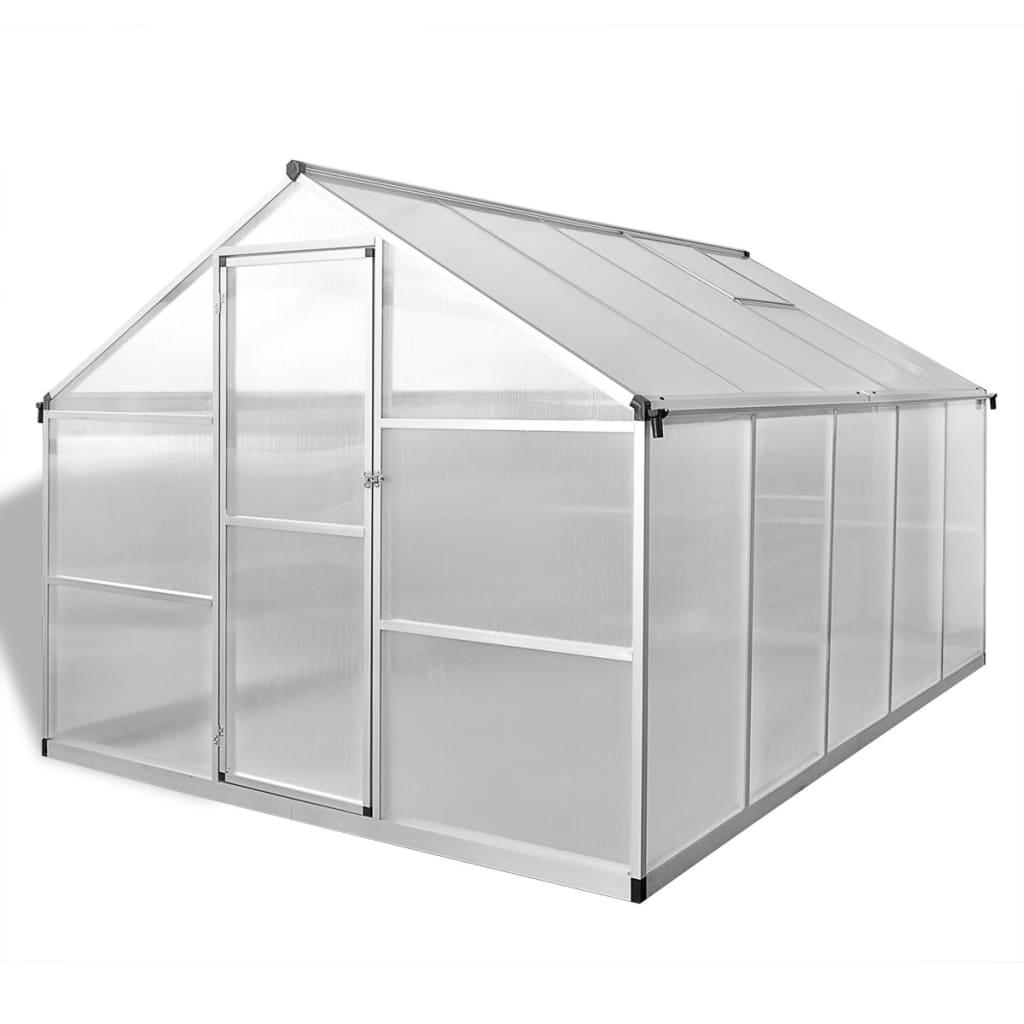 Växthus i förstärkt aluminium med basram 7,55 m²