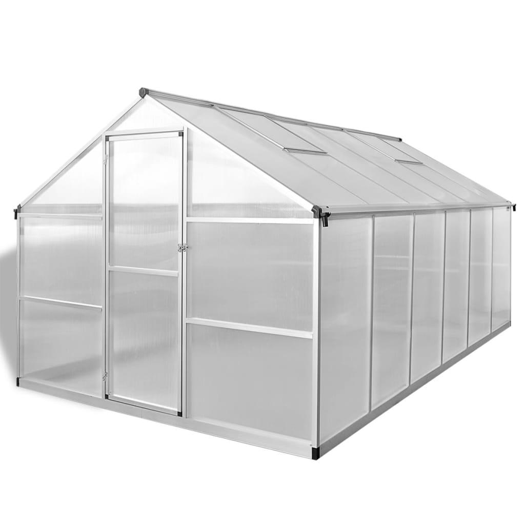 Växthus i förstärkt aluminium med basram 9,025 m²