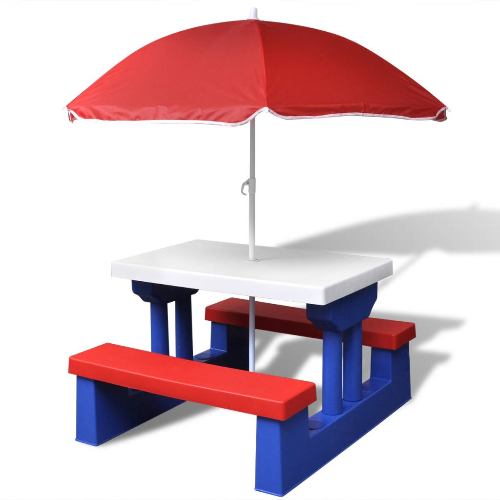 Picknickbord med bänkar och parasoll för barn flerfärgad