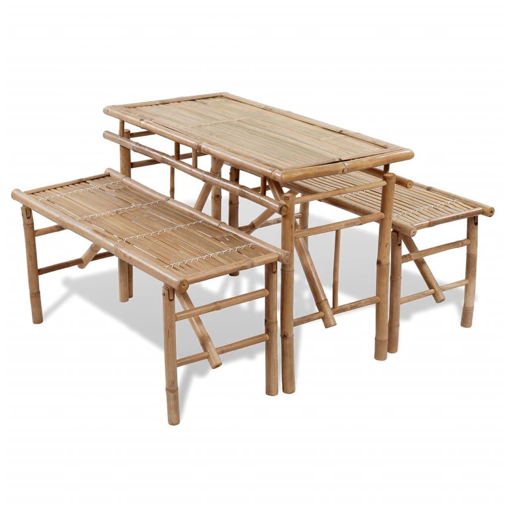 Ölbord med 2 bänkar 100 cm bambu