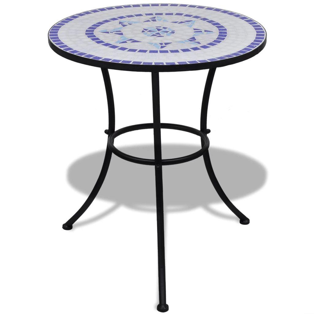 Caféset blå och vit 60 cm mosaik