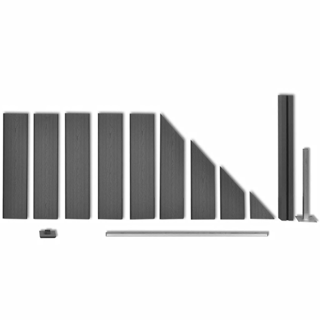 Staketpanel WPC 105x(105-185) cm grå