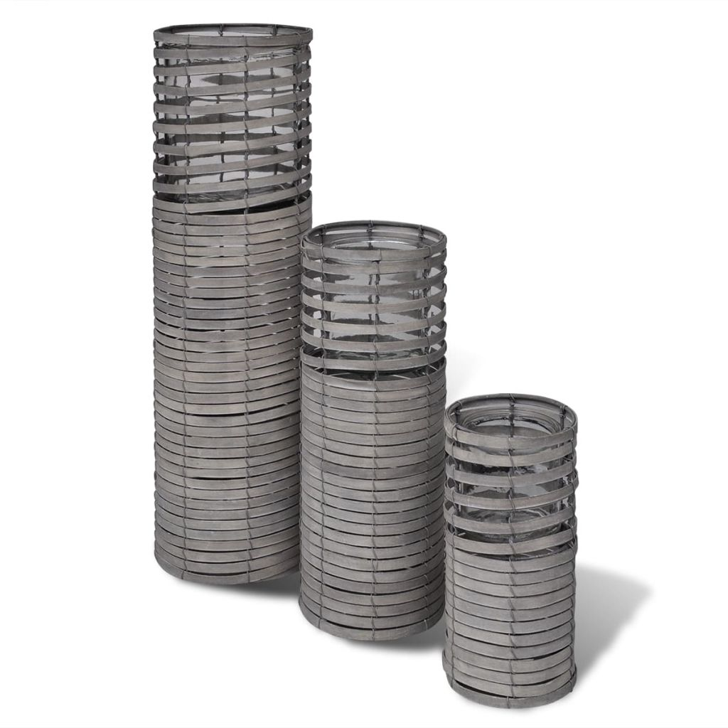 Handgjorda gråa ljushållare, snurrad design, set om 3