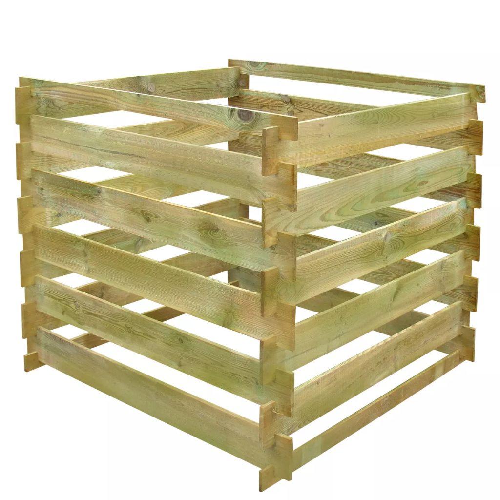 Kompostbehållare 0,54 m3 fyrkantig trä