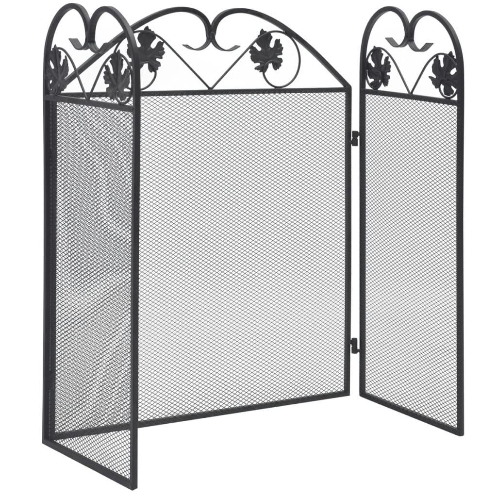 vidaXL Gnistskydd med 3 paneler järn svart