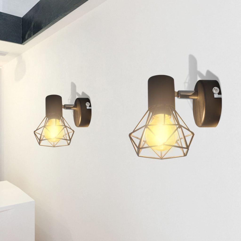 2 Vägglampor i industri-design med LED-glödlampor svart