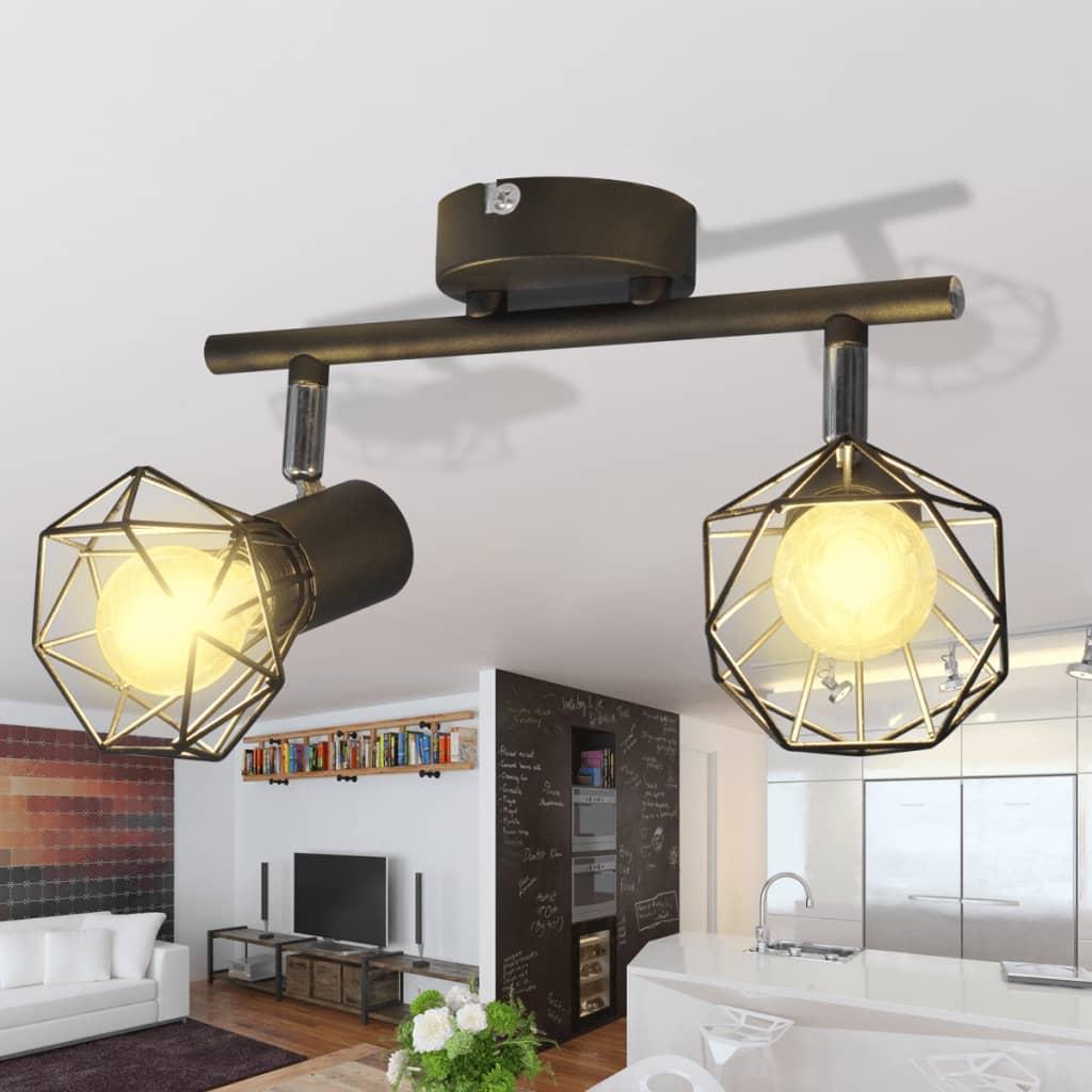 Taklampa industri-design spotlights med 2 LED-glödlampor svart