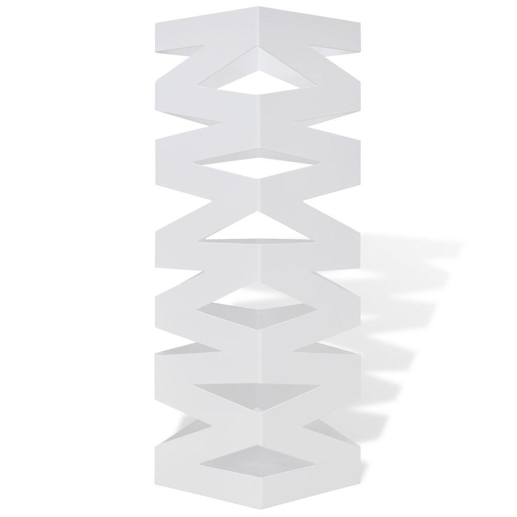 Fyrkantigt paraplyställ Sicksack av stål Vit 48,5 cm