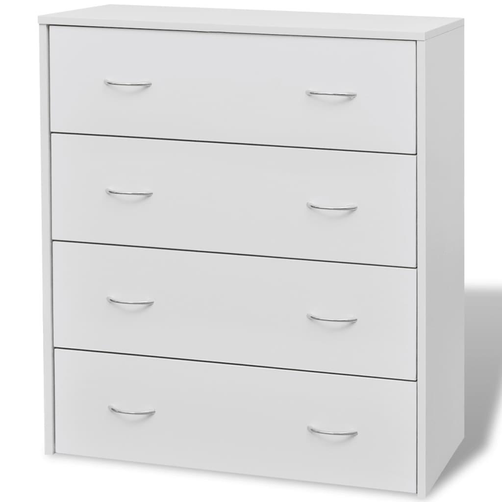 vidaXL Byrå med 4 lådor 60x30,5x71 cm vit