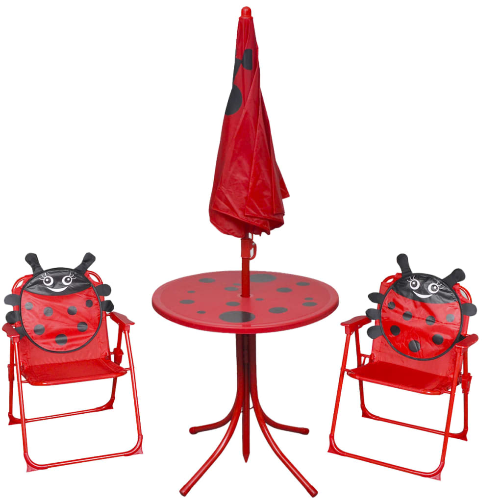 Cafébord för barn med parasoll 3 delar röd