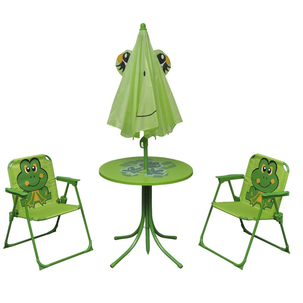 Cafébord för barn med parasoll 3 delar grön