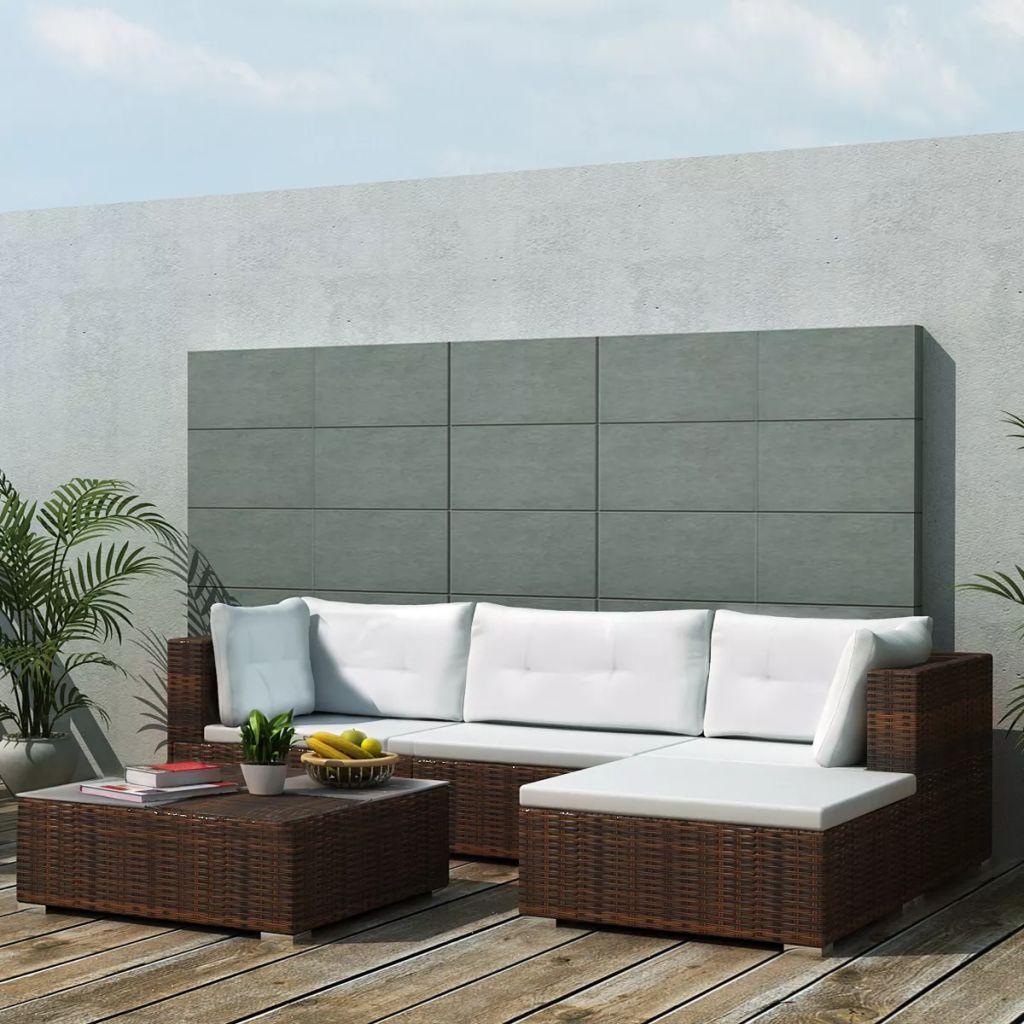 Loungegrupp för trädgården med dynor 5 delar konstrotting brun