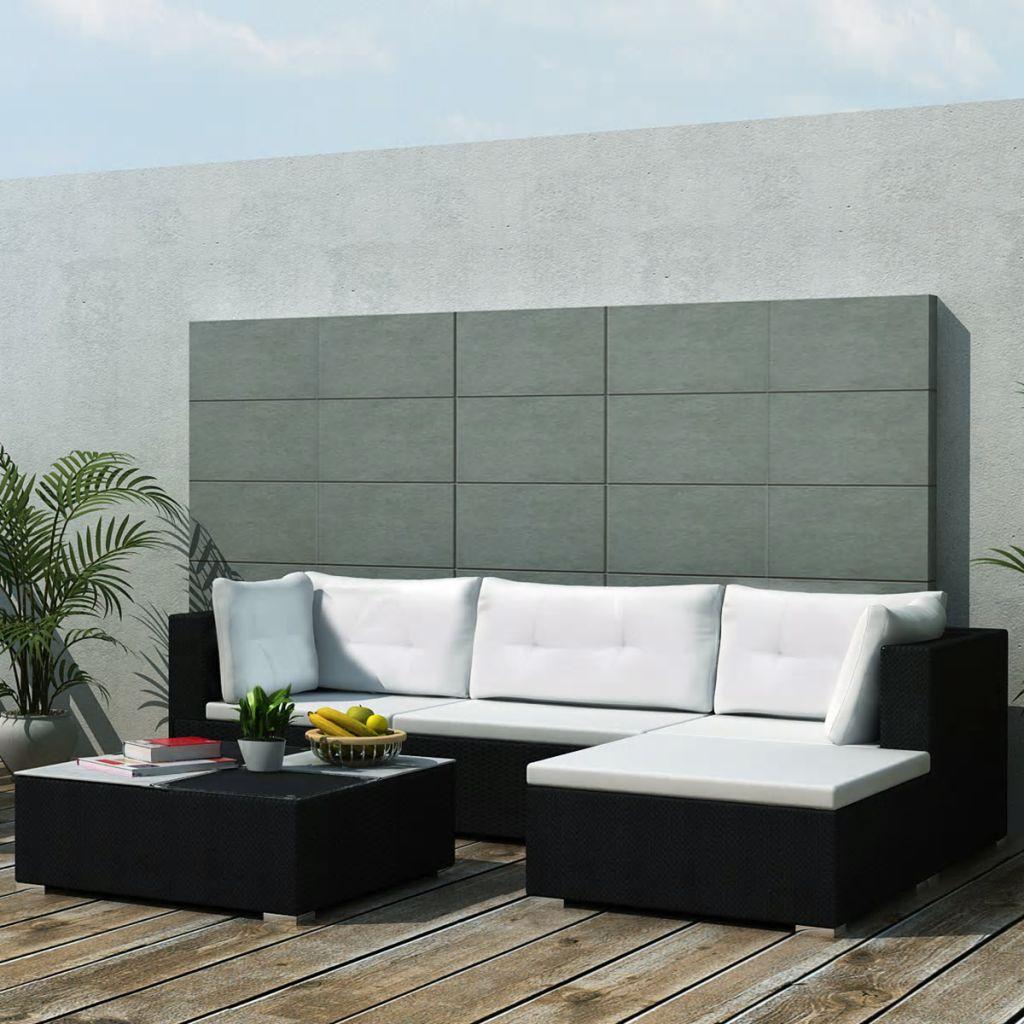 Loungegrupp för trädgården med dynor 5 delar konstrotting svart