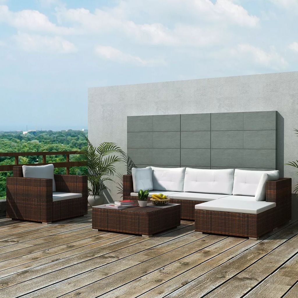 Loungegrupp för trädgården med dynor 6 delar konstrotting brun