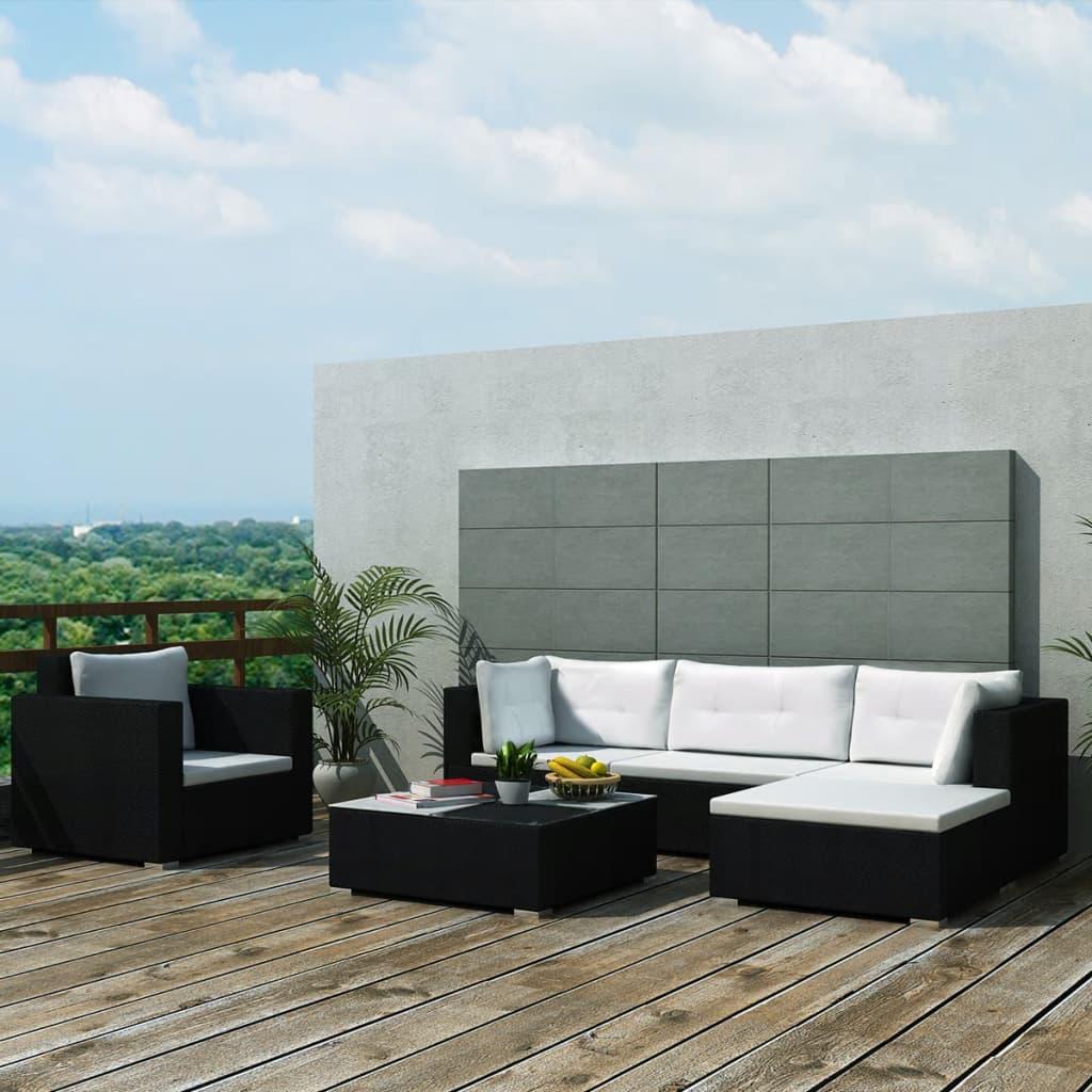 Loungegrupp för trädgården med dynor 6 delar konstrotting svart