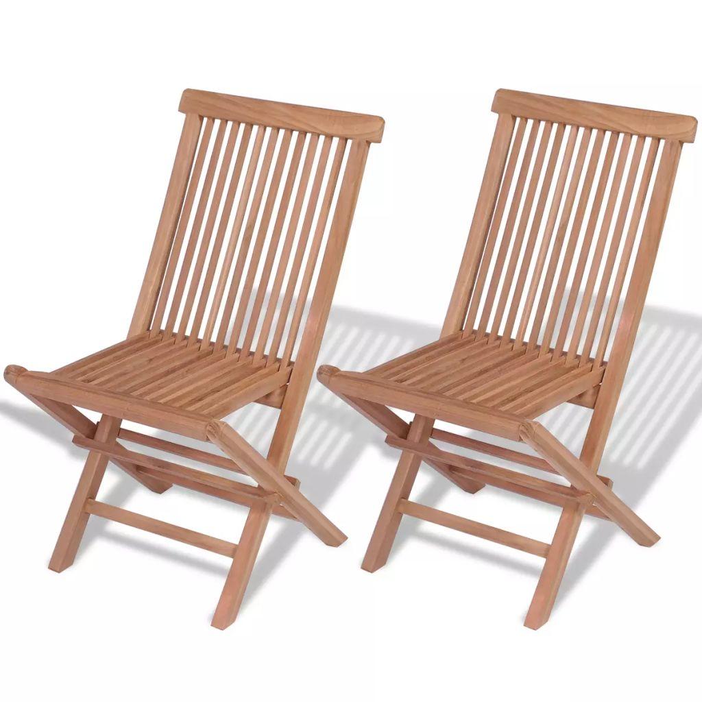 Hopfällbar trädgårdsstol 2 st massiv teak