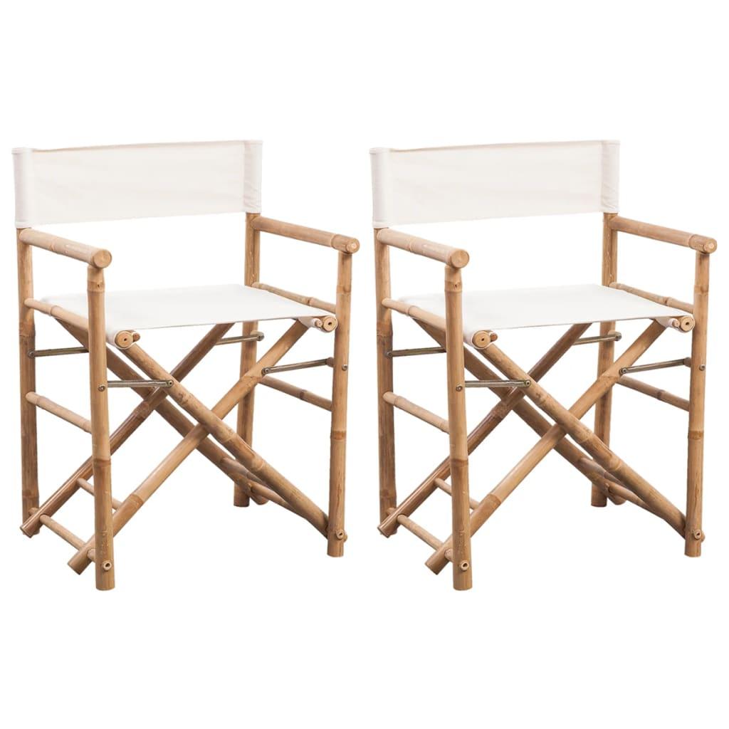 Hopfällbar regissörsstol 2 st bambu med kanvas