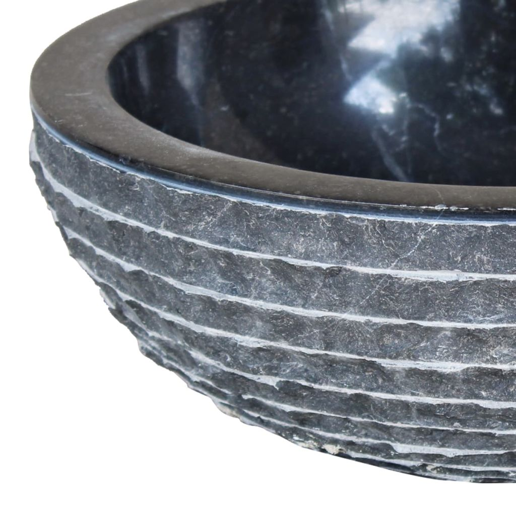 vidaXL Handfat 40 cm marmor svart