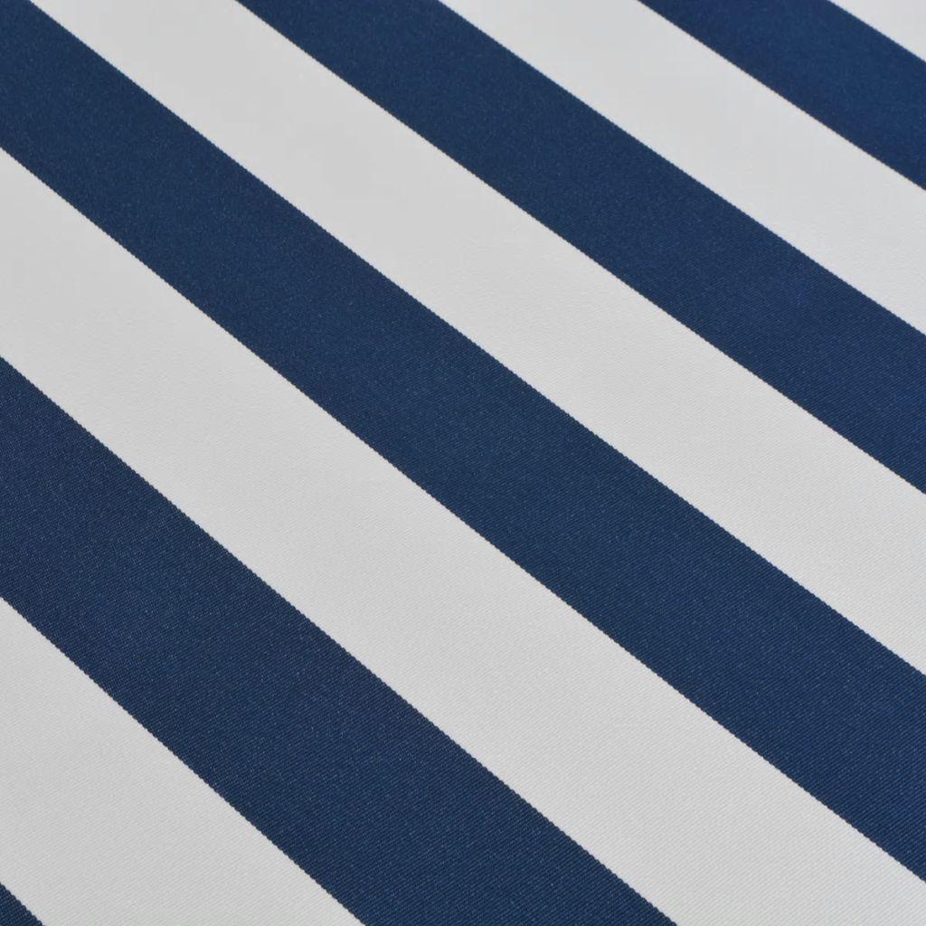 Markis manuellt infällbar blå och vit 450 cm