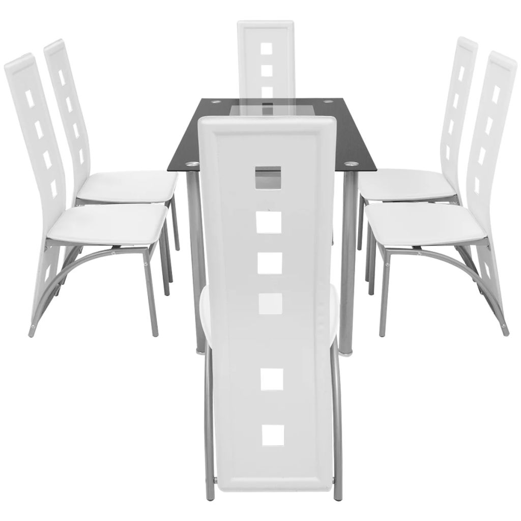 vidaXL Matbord och stolar 7 delar vit
