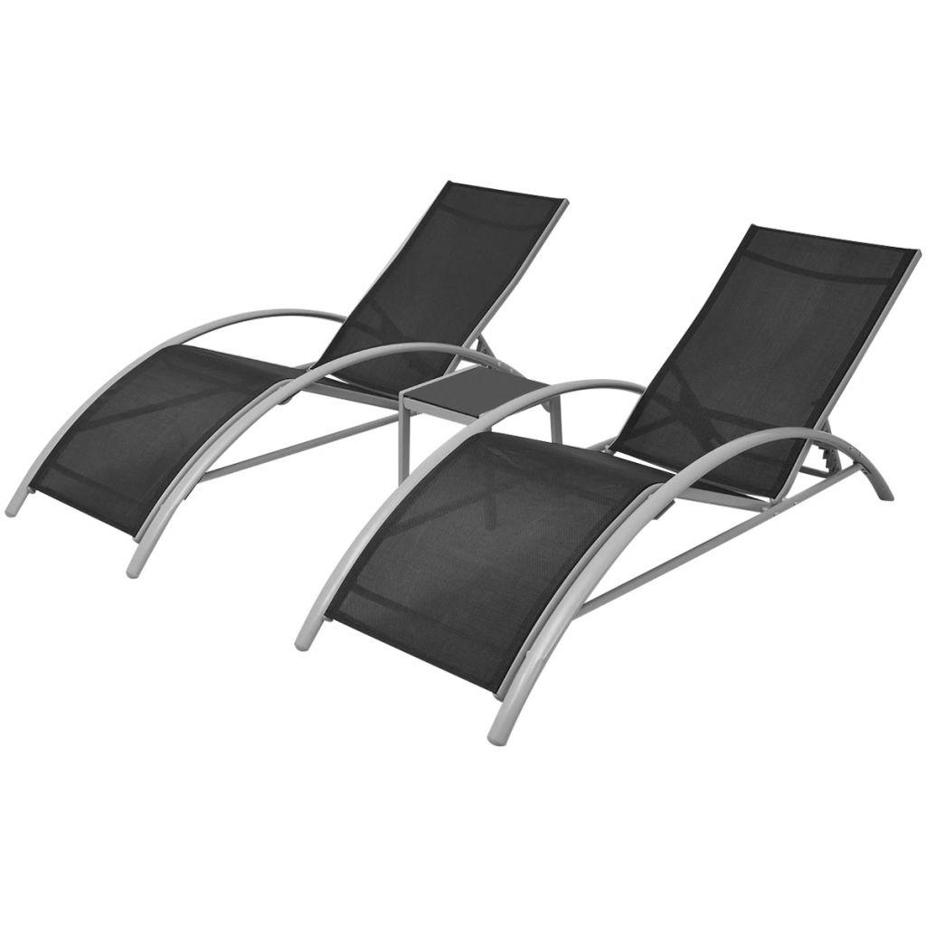 Solsängar med bord aluminium svart