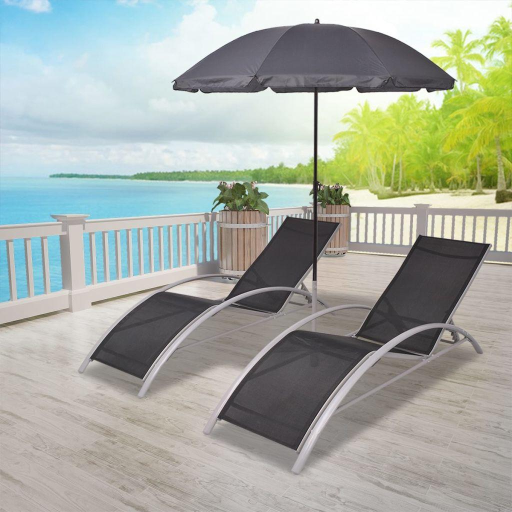 Solsängar med parasoll aluminium svart