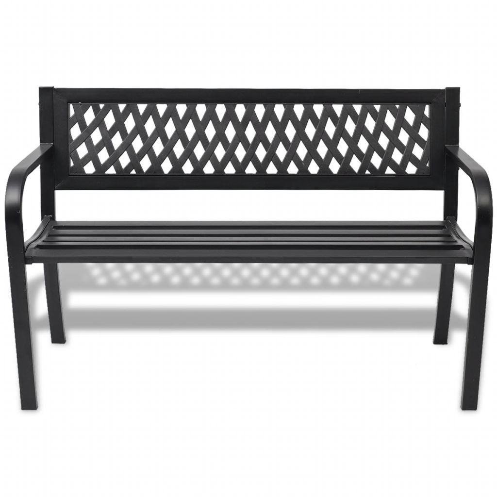 Trädgårdsbänk 118 cm stål svart