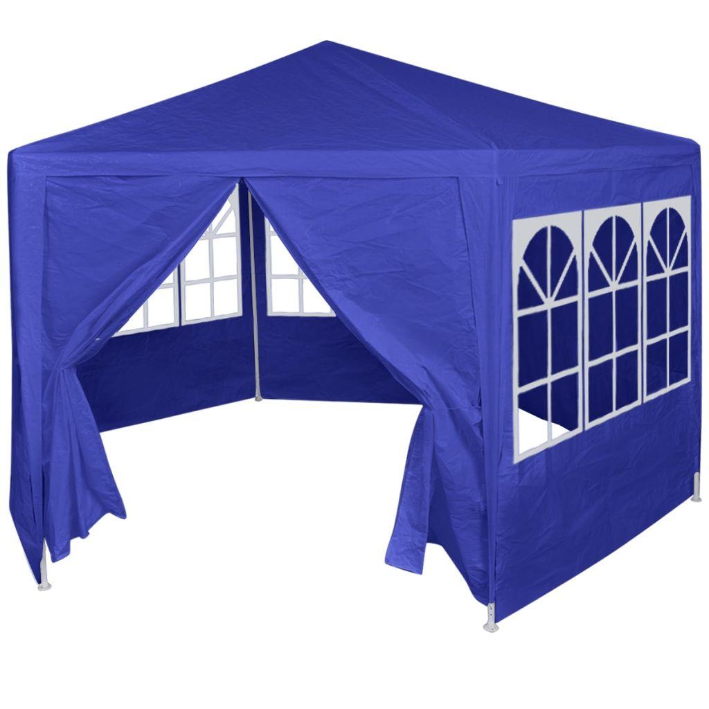 Partytält med 6 sidoväggar blå 2x2 m