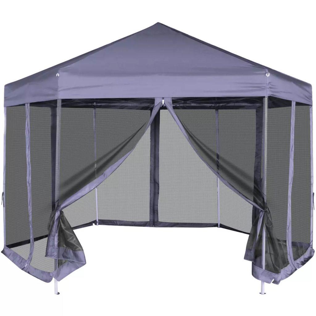 Pop-Up Partytält med 6 sidoväggar sexkantigt 3,6x3,1 m mörkblå