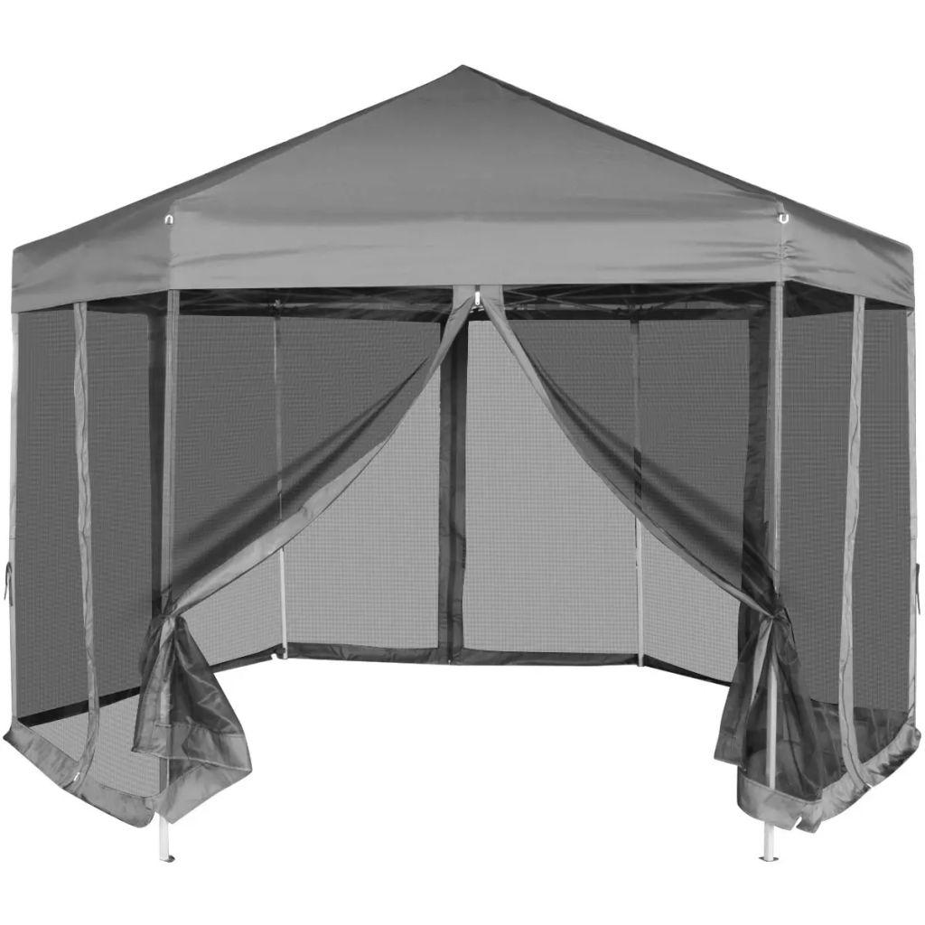 Pop-Up Partytält med 6 sidoväggar sexkantigt 3,6x3,1 m grå