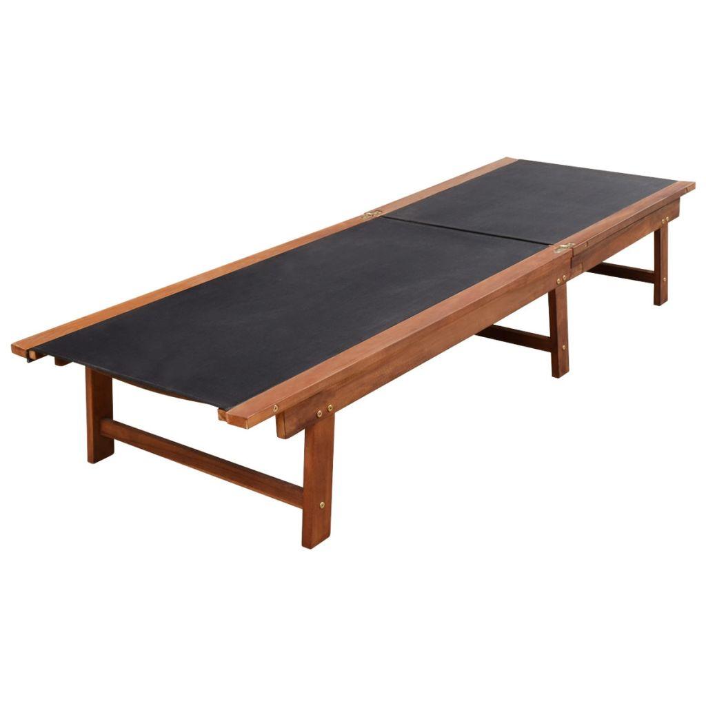 Solsängar 2 st med bord massivt akaciaträ och textilene