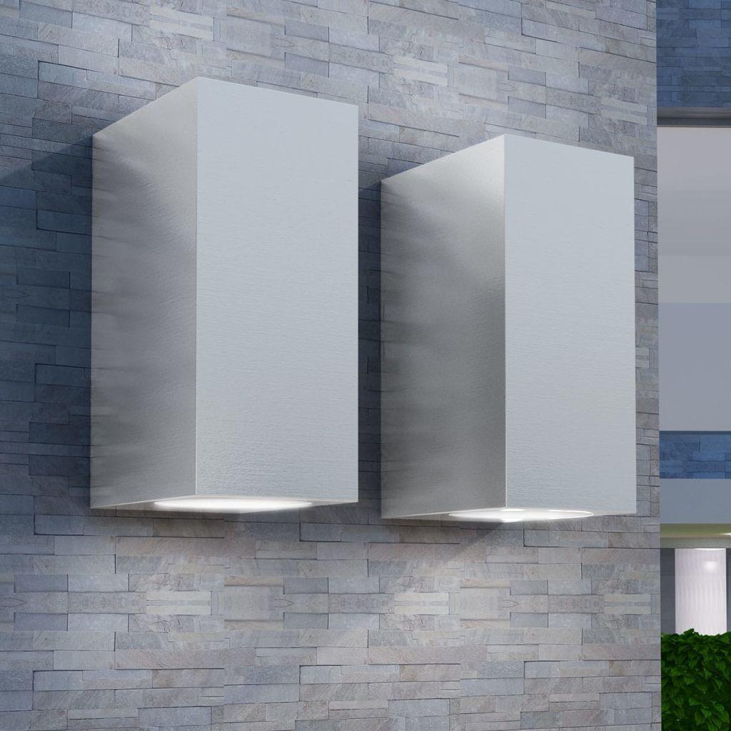 Utomhusvägglampa LED 2 st fyrkantiga uppåt/nedåt