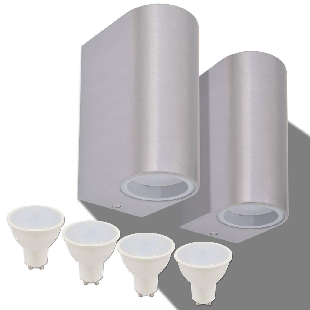 Utomhusvägglampa LED 2 st rund uppåt/nedåt