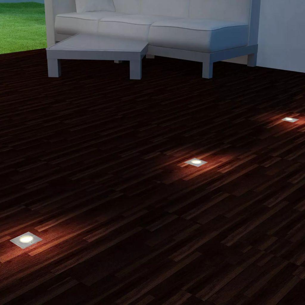 Marklampa med LED 3 st fyrkantiga