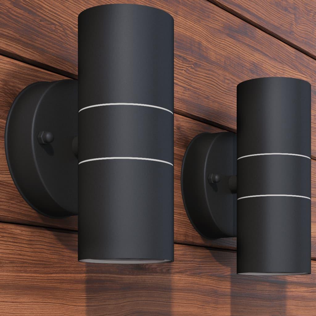 Utomhusvägglampa LED 2 st rostfritt stål uppåt/nedåt