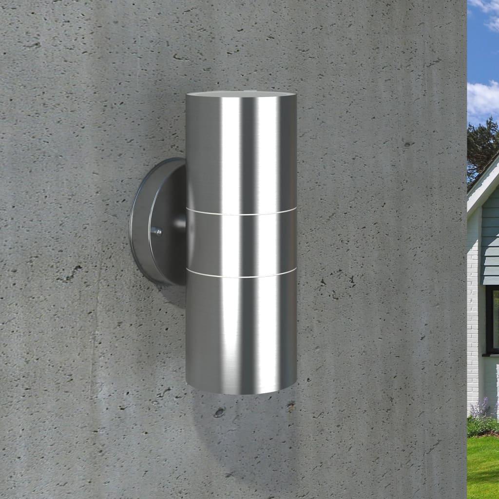 Utomhusvägglampa 2 st rostfritt stål uppåt/nedåt