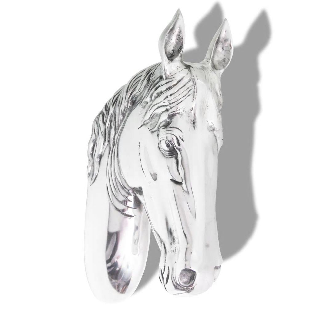 vidaXL Väggmonterad hästhuvud-dekoration aluminium silver