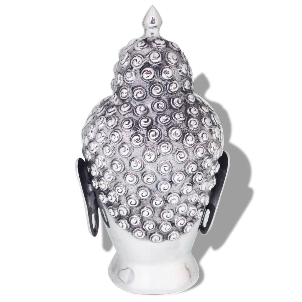 vidaXL Buddhahuvud-dekoration aluminium silver