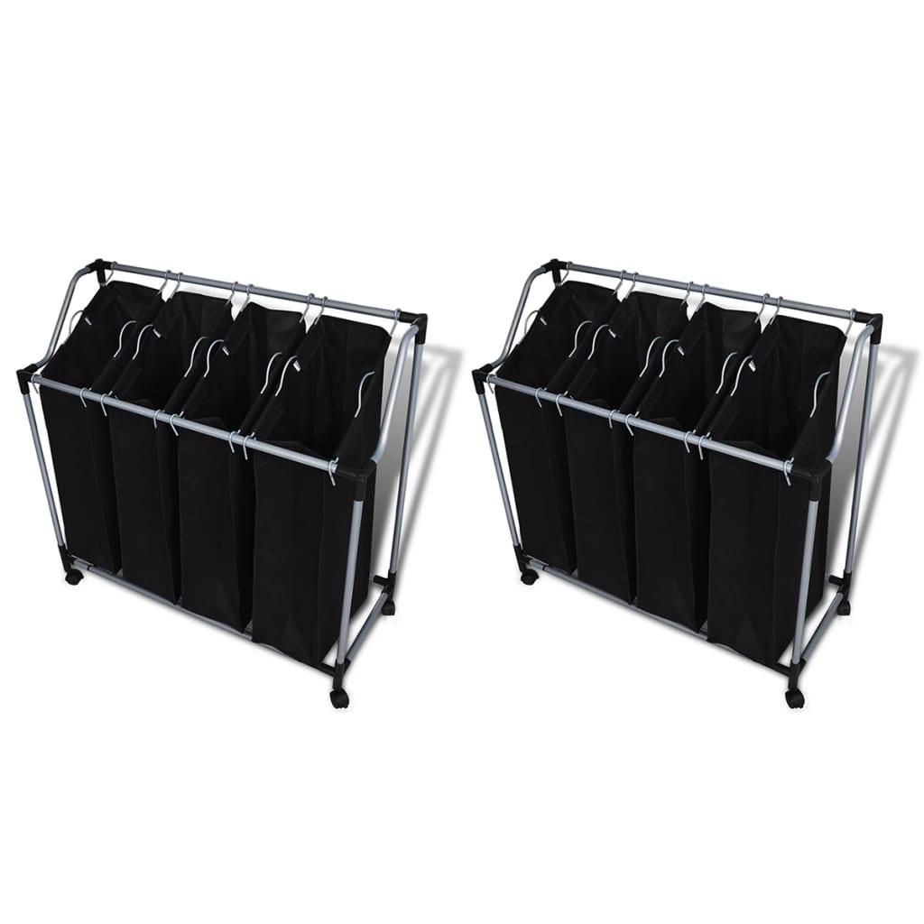 Tvättsorterare med påsar 2 st svart och grå