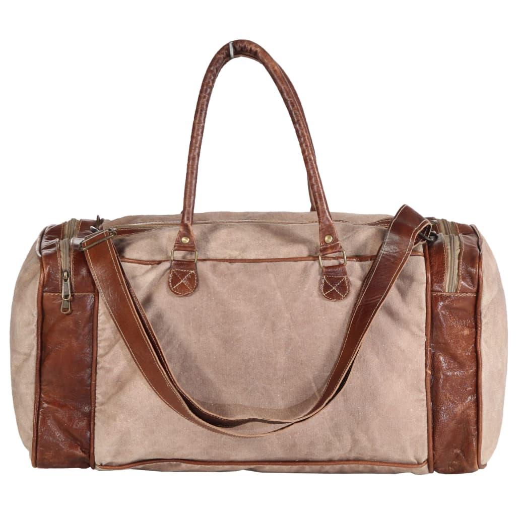 Weekendväska brun 54x23x52 cm kanvas och äkta läder