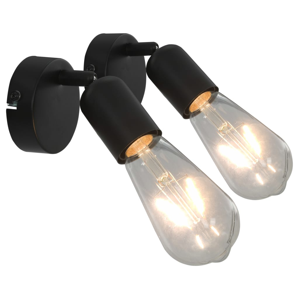 Spotlights 2 st svart E27