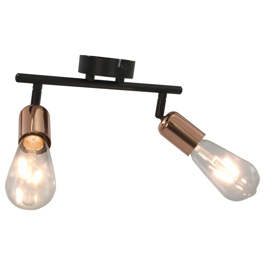 Spotlight med 2 st lampor 2 W svart och koppar E27